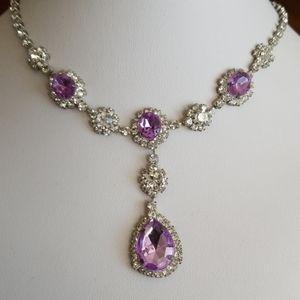 BRIGHT 💥 PURPLE Rhinestones necklace